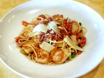 Rusty's Surf & Turf Restaurant on Hatteras Island, Scallop Carbonara