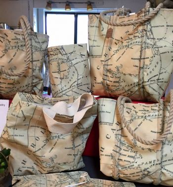 Buxton Village Books, Custom Sea Bag: Fifth District Light House Map