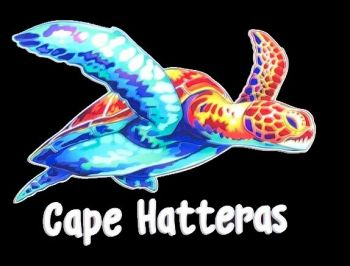 Scotch Bonnet Fudge & Gifts, Cape Hatteras Colorful Swimming Turtle decal