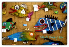 Mary Nelligan hand-painted wooden fish